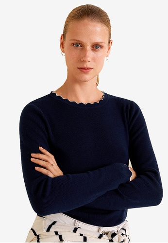 Mango blue and navy Ribbed Cotton-Blend Sweater D2FE2AAB19F090GS_1