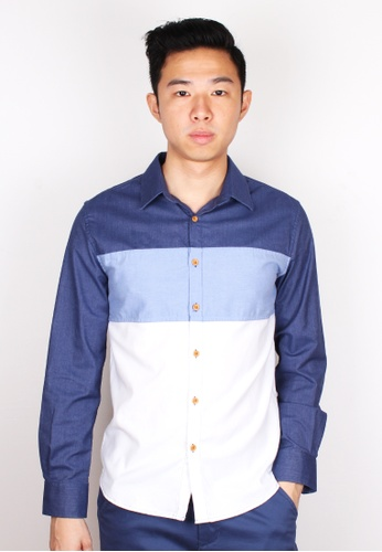 Moley navy Tri-Colour Block Long Sleeve Shirt MO329AA21WXASG_1