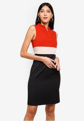 ZALORA orange and multi Notched Neck Sheath Dress 9FA86AA13D37ECGS_1