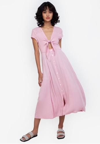 ZALORA BASICS pink Broderie Detail Knot Front Midi Dress C6649AA59A7999GS_1