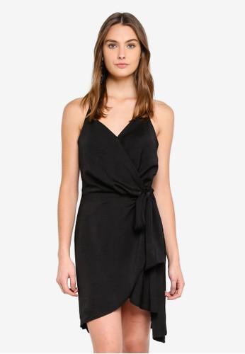 Cotton On black Woven Satin Strappy Wrap Midi Dress F1171AA3A81543GS_1