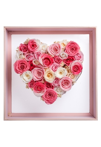 Her Jewellery white and pink Everlasting Preserved Rose with LED Lights - Angel Heart (Shades of Pink + White) 64202HLD43837BGS_1