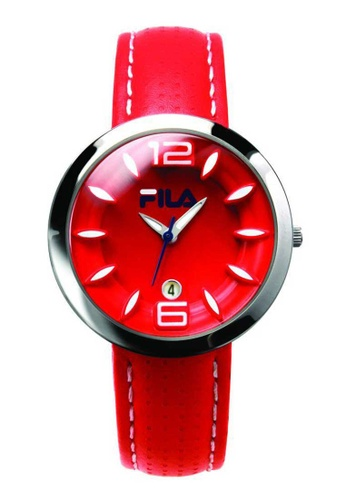 FILA Watches red Fila Silver and Red Leather Watch 65E55AC3BB58DAGS_1