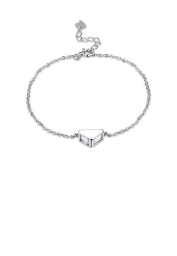 Glamorousky white 925 Sterling Silver Simple Geometric Triangle Cubic Zircon Bracelet 8EABAAC778830DGS_1