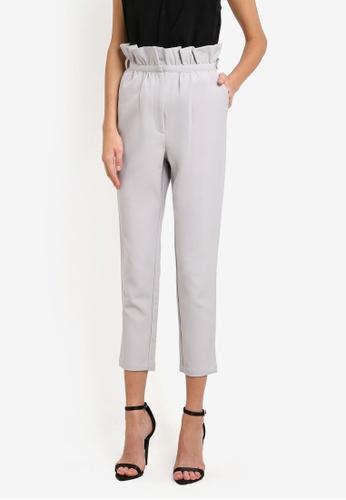 Lavish Alice grey Gathered Waist Tapered Trousers LA457AA0SANNMY_1