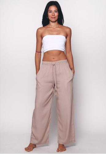 Aanya brown and beige Khaki Straight Lounge Pants Cream 8900AAA98DC3DBGS_1
