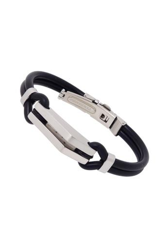 Jaysa Collection black Stainless Steel Matt-Polished Ornaments Silicon Cords Bracelet JA875AC23IJKSG_1