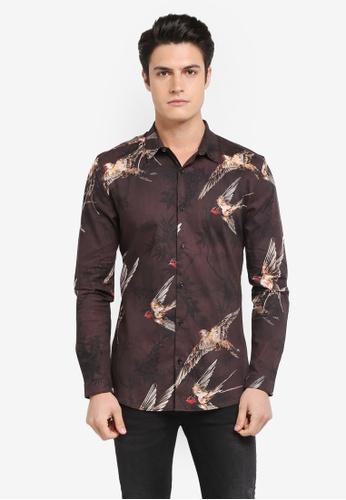River Island purple Long Sleeve Bird Print Muscle Fit Shirt RI009AA0S9UUMY_1