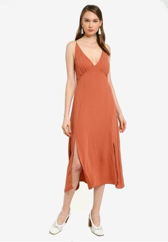 Mink Pink orange Akora Midi Dress 94DA2AAE94DEFBGS_1