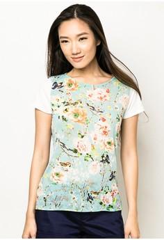 Short-Sleeve Floral Blouse