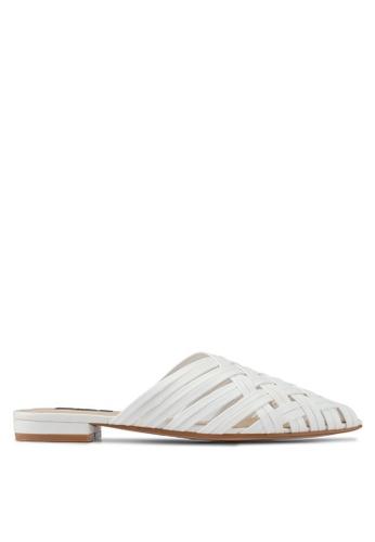 ZALORA white Faux Leather Woven Slip On Flats E7064SH7FF8FF4GS_1