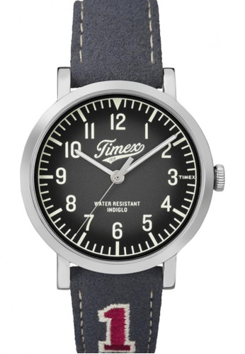 TIMEX grey Timex Originals University with Silver-Tone Case and Leather Strap TI857AC35NSISG_1