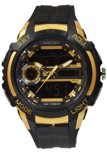 Digitec gold and brown Digitec - Jam Tangan Pria - Black Gold - Rubber - DG3025TBRG DI108AC77VPQID_1