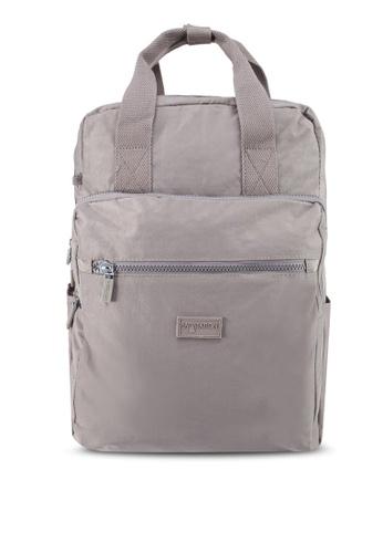 Bagstationz grey Crinkled Nylon Backpack 53EC9ACA6D591CGS_1
