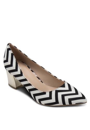 Mollyesprit 鞋 鋸齒印花金飾粗跟鞋, 女鞋, 厚底高跟鞋