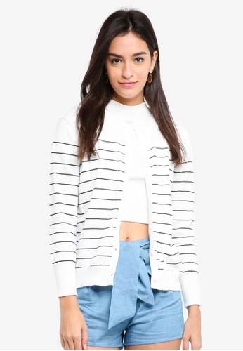 ZALORA BASICS white Stripe Knitted Cardigan FC015AAF45E4E7GS_1