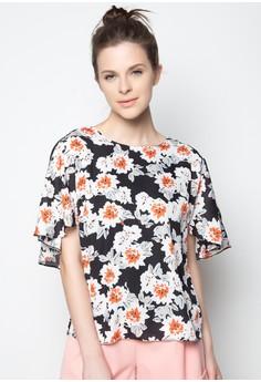 V-Back Floral Print Top