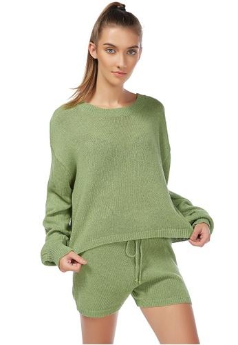 London Rag green Green Crew Neck Long Sleeve Pullover 013C7AA77E3ED7GS_1