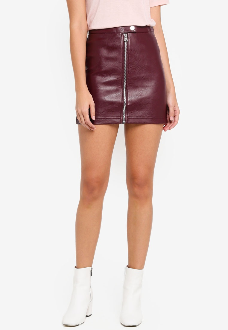 Skirt Burgundy Mini Look Leather TOPSHOP qwztIOCn