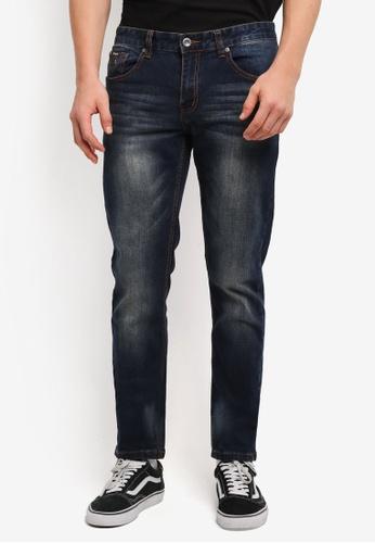 UniqTee 藍色 Washed Slim Cut Jeans UN097AA0SHCTMY_1