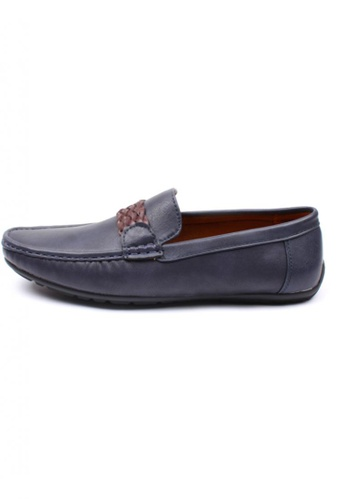 Moley navy Faux Leather Twine Strap Loafer MO329SH13AJYSG_1