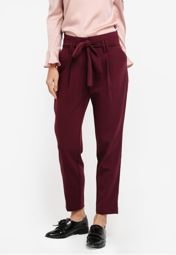 Dorothy Perkins red Port High Waist Tie Trousers DO816AA0SJ6EMY_1