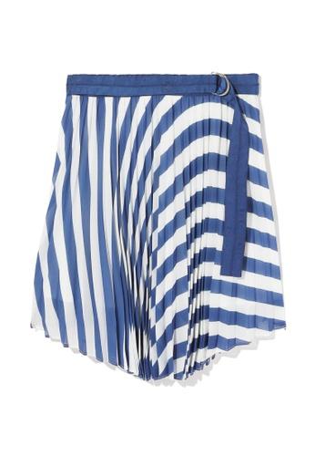 tout à coup blue Stripe pleated wrap skirt 3FBA7AAFF835F9GS_1