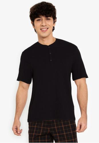 H&M black Slub jersey T-shirt 19654AA66BC0D9GS_1