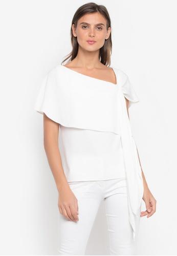 CANVAS white Asymmetrical w/ Sleeve Drape-front Top 5FBEBAA4F17F79GS_1