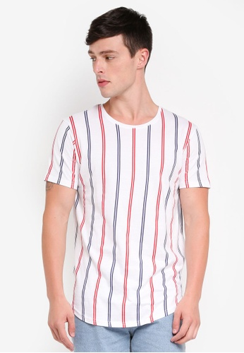 Factorie 多色 Curved Stripe T Shirt EC813AA9A91394GS_1
