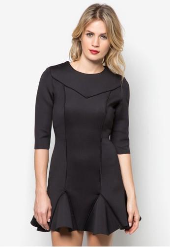 荷葉邊飾連身裙zalora 衣服評價, 服飾, 短洋裝