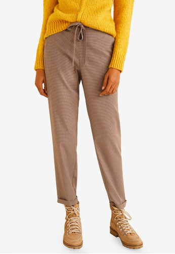 MANGO brown Bow Belt Trousers 05B59AAC01349CGS_1