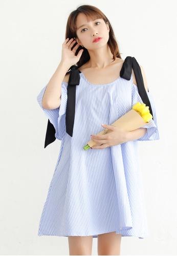 Shopsfashion blue Tie up Shoulder Flare Dress SH656AA54CMRSG_1