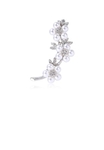 Glamorousky white Fashion and Elegant Flower Imitation Pearl Brooch with Cubic Zirconia E4F63AC9EFD2E0GS_1