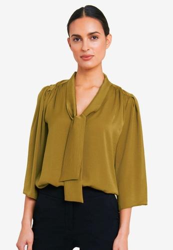FORCAST green Yaretzi Tie Neck Blouse B8CA8AAB3BD03EGS_1