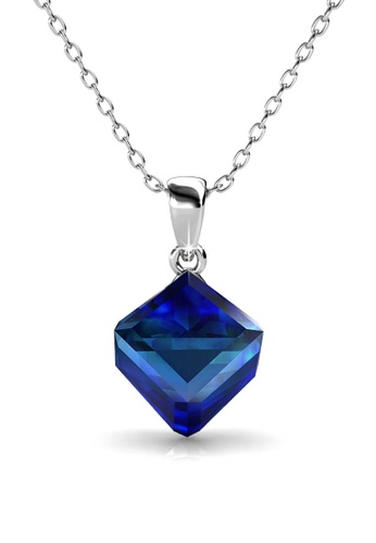 Her Jewellery blue Classic Cube Pendant (Blue) - Made with premium grade crystals from Austria 1D3E0AC1E28DC8GS_1
