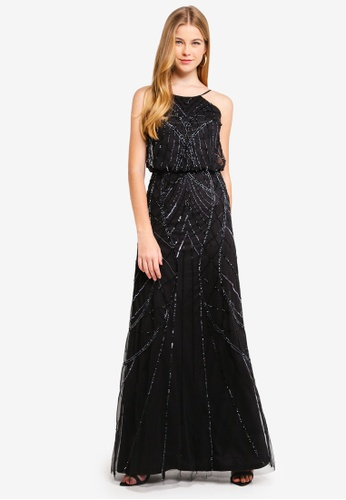 Lipsy black Embellished Halter Maxi Dress 4FDE0AAC356907GS_1