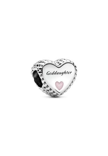 PANDORA silver Pandora Goddaughter Heart Charm F6E3FAC9FC9E45GS_1