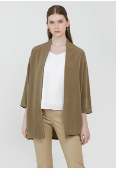 Cloth Inc green Blake Loose Outer in Olive 24F09AACD5DAB3GS_1