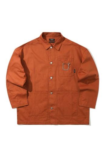 Fivecm brown Chain embellished canvas shirt EC1B3AAF2DB824GS_1