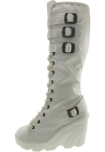 Maxstar 白色 新款韩国鞋Wh-Long時尚皮革布混合女白色 US Women Size MA345SH90HBHTW_1
