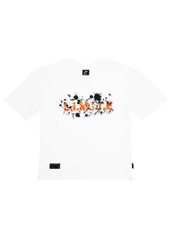 L.I.M.I.T.E white Oversize Printed TEE 70877AAF955DB4GS_1