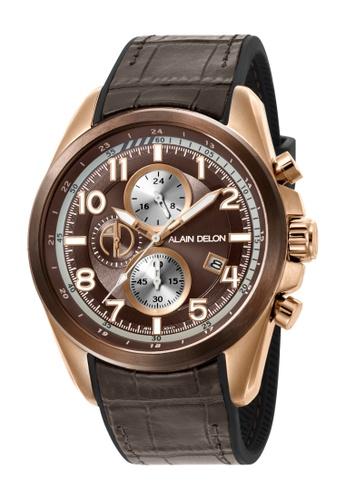 Alain Delon brown Alain Delon Men AD421-1045C Brown Silicone Leather Watch B731DACB194958GS_1