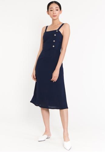 Plain B. blue Plain B. Sleeveless Square Neckline Casual Midi Dinner Dress 31615AA5EB0761GS_1