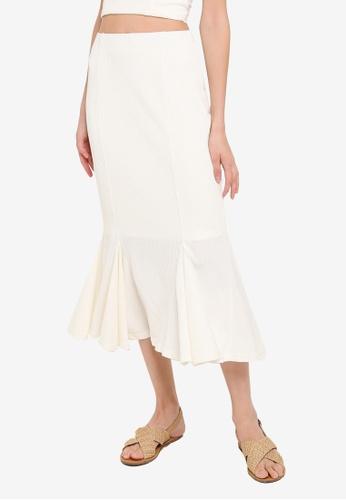 Mink Pink white Godet Midi Skirt E3D81AA01AC0C5GS_1