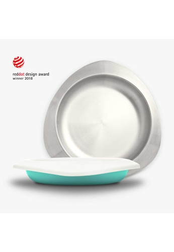 Viida [VIIDA] The Soufflé Kids Antibacterial Stainless Steel Plate with Lid 550ml/18.6oz , Turquoise Green - Eco-Friendly, Safe, FDA Certified, SGS Tested 6C139HLD6BD142GS_1