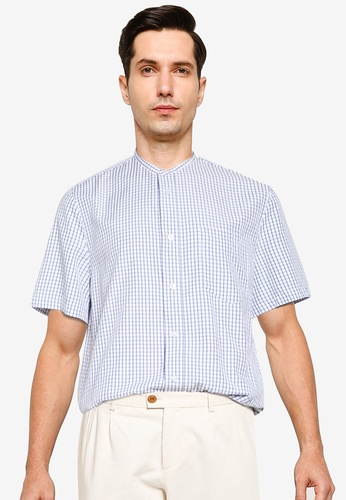ZALORA BASICS blue Printed Short Sleeve Stand Collar Shirt 1CAF4AAE73A7CAGS_1