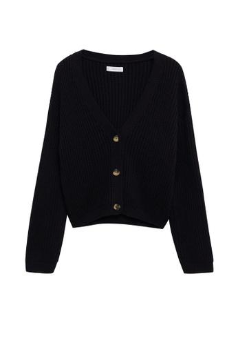 MANGO KIDS black Cotton-Blend Cardigan F086DKA240D07CGS_1
