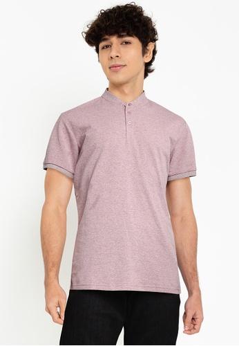 Fidelio purple Mandarin Collar Basic Polo Shirt 7F2F9AA4FB405EGS_1