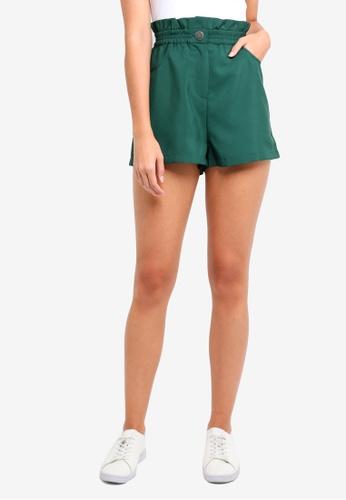 ZALORA green Paperbag Waist Shorts A5636AA26D9DD0GS_1